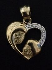 10KT YELLOW GOLD MOTHER & CHILD HEART PENDANT OR CHARM