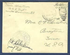 American Expeditionary Forces Soldier's Mail 1918 Cover Passed Army Censor