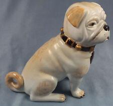 Seltener Mops hund figur porzellanfigur pug hundefigur porzellan Sitzendorf bunt