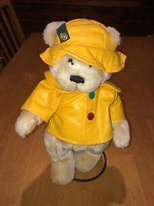 Brass Button Pickford Teddy Bear Harper 1996 Yellow Raincoat Stuffed Bear Stand
