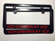 Chevrolet Bowtie Logo Plastic License Plate Frame Decal Vinyl Two Red Gift