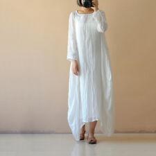 UK 8-26 Women Cotton Linen Maxi Dress Long Sleeve Casual Boho Kaftan Basic Tunic White XL