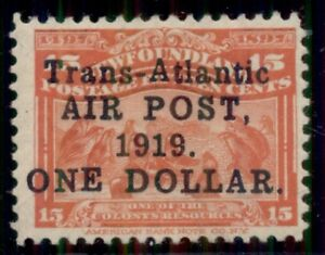 NEWFOUNDLAND #C2 $1.00 on 15¢ scarlet, og, LH, VF, Scott $225.00