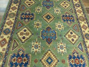 "6'5""x10'3"" New Vintage Style Pak Kazak hand knotted wool Oriental Green area rug"