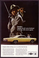 1966 Vintage Chevrolet Impala SS Sport Coupe Car Secret Agent Photo Print AD