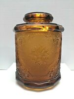 """Vintage Tiara Indiana Glass Honey Amber  Biscuit Jar Canister With Lid  7-1/2"""""""
