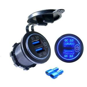 12v Dual USB QC 3.0 Fast Charger With Touch on/off