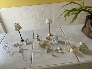 Dolls House 1.12 ceiling lights Table and Standard Lamp One battery . ALL WORK