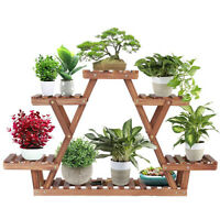 Solid Wooden Plant Stand Triangular Shelf Flower Pots Rack Holder Indoor Outdoor