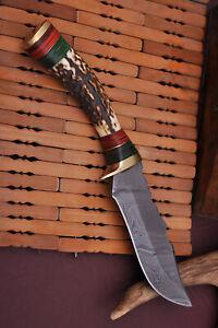 CUSTOM HAND FORGED DAMASCUS STEEL HUNTING Skinner KNIFE Fix Blade Knife +sheath