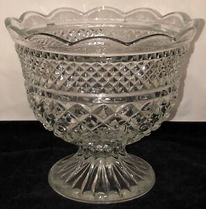 "Anchor Hocking WEXFORD CRYSTAL 8"" FOOTED CENTERPIECE BOWL"