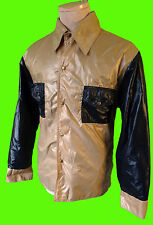 VINTAGE color block hip hop windbreaker nylon flare colar jacket parachute hippy
