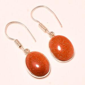 Amazing Sunstone Oval Gemstone 925 Stamped Earring Jewelry 3.1 _P922