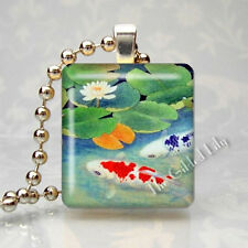 KOI FISH & LOTUS POND FLOWER Scrabble Tile Altered Art Pendant Jewelry Charm