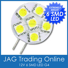 1 x 12V 6-SMD LED G4 SUPER BRIGHT LIGHT - COOL WHITE -Boat/Caravan/RV/Cabin/Lamp