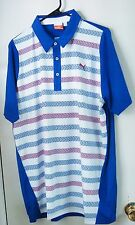 NWT Puma Duo Swing Stripe Polo Size Medium Color-White-Surf the Web #560927 02