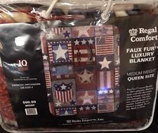 "Regal Comfort PATRIOTIC PATCHWORK BLANKET Faux Fur 79""x 96"" Medium Weight"