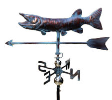 LARGE Handcrafted 3D Fish Trout PIKE Walleye Weathervane Copper Patina Finish