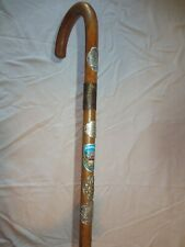 "Vtg. German Walking Stick Cane w/ 5 Badges 35 1/2"" long"