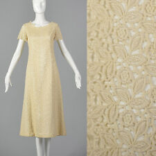 S 1960s Short Sleeve Lace Overlay Wedding Dress Bridal Gown Spring Summer 60s