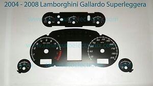 2004 - 2008 Lamborghini Gallardo Superleggera Speedometer Gauge Overlay Black