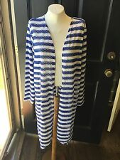 New Chico's Blue White Stripe Tess Cardigan Duster Topper Jacket 3 XL 16/18 NWT