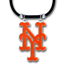New York Mets Rubber Cord Necklace w/ Logo Charm Licensed MLB Baseball Jewelry