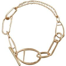 BCBGMAXAZRIA Womens Gold Chain Choker Elegant Toggle Necklace O/S BHFO 6046