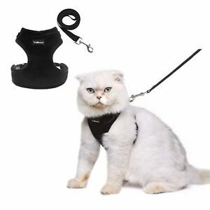 Escape Proof Cat Harness Lead Set Soft Adjustable Vest Harness Medium Black New