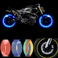 "16 Pcs Strips Wheel Stickers 9.5"" Reflective Rim Tape Bike Motorcycle Car T JR"