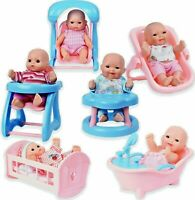 Set of 6 Mini Dolls with Cradle, High Chair, Walker, Swing, Bathtub, Infant seat