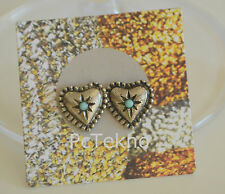 Urban Outfitters Silver Tone Heart w/ faux turquoise Stud Earrings NWT