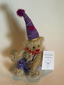 "DEB CANHAM  "" POPSICLE"" AN OFF WHITE MOHAIR JOINTED BEAR WITH TOP HAT 7"""