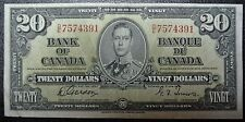 BANK OF CANADA 1937 - $20 OFF-CUT BANK NOTE - Prefix D/E -Signed Gordon & Towers