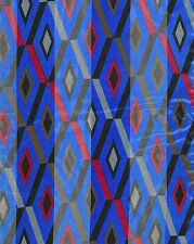 "Multi Color Blue  Check Diamond Pattern Satin Stripe 13"" x 60 Long Scarf"