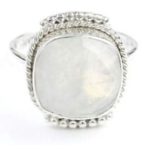 Princess Moon Ring, Sterling Silver Moonstone Ring, Facet Cut Stone Jewelry, Gem