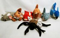Vintage Ty Beanie Baby Lot of 7 - Snort Sly Mel Pouch Rocket Crunch Spinner NWT