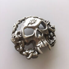 Skull With Motorcycle Chains Biker Rider Metal Belt Buckle