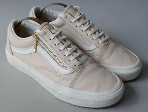 Ladies Vans Old Skool Nude Pink & White Leather Zip Trainers Size UK 4
