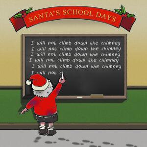 Merry Christmas Card -Naughty Santa &Chalkboard -Xmas Card -Funny Christmas Card