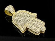 "Yellow Gold Finish Simulated Diamond Hamsa Evil Eye Charm Pendant 1.8"""