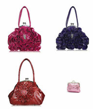 Faux Leather Outer Floral Shoulder Bags