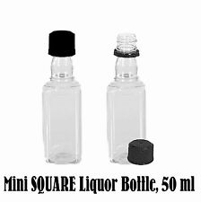 Mini SQUARE Plastic Alcohol 50ml Liquor Bottle Shot + Cap (1 pc) [AVAILABLE NOW]