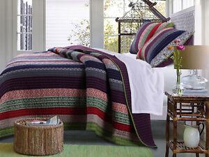 MARLEY 3pc King Quilt Set Reversible Stripe Bohemian Eclectic Global Purple