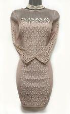 KAREN MILLEN UK 16 Nude Embroidered Oriental Mesh 3/4 Sleeves Cocktail Dress