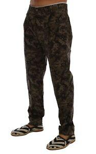 NEW $700 DOLCE & GABBANA Pants Black Green Cotton Military Pattern s. IT52 / W38