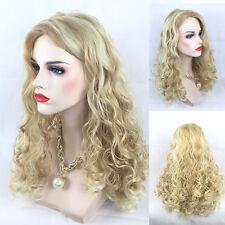 Mode Femme Milieu Longue Bouclés Perruque Ondulée Blond Frisé Cheveux+Casquette