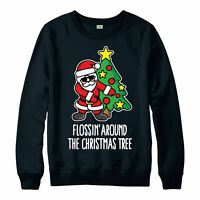 Santa Christmas Jumper, Floss Around the Christmas Tree Festive Gift Jumper Top