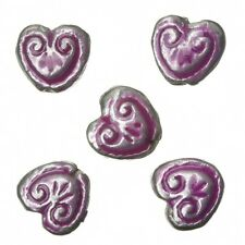 Enamelled Heart Pink Pattern Metal Beads 15mm Pack of 5 (A94/2)