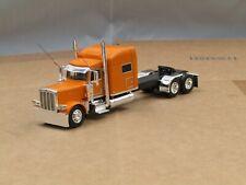 "Dcp Custom stretched frame Peterbilt orange 389 70""sleeper 1/64"